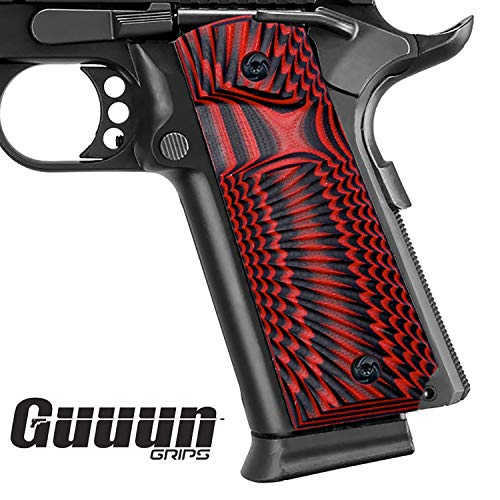 Guuun 1911 Griffe für Pistole 1911 Full Size Grips Gewehr-Hartschalenkoffer G10 Griffe Ambi Safety Cut Big Scoop Sunburst Texture