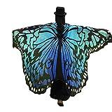 HLHN Frauen Schmetterling Flügel Schal Schals Nymphe Pixie Poncho Kostüm Zubehör für Show / Daily / Party 36 Stil (Large, Blau B)