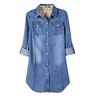 Yistu Vintage Denim Shirt+1PC Necklace, Women Casual Long Sleeve Shirt Tops Blouse