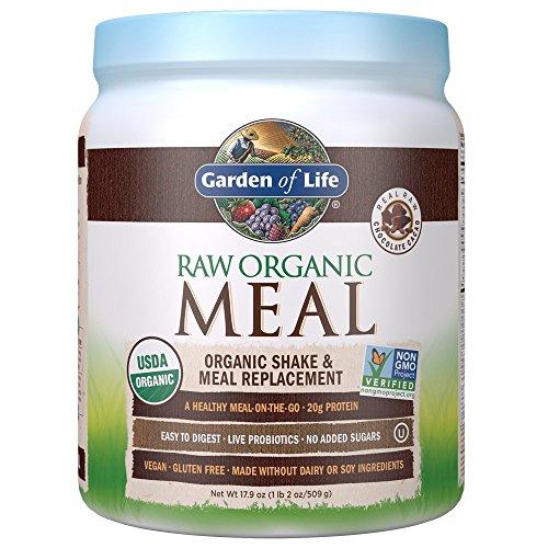Garden of Life - Batido orgánico de alimentos CRUDOS & Reemplazo de comidas Chocolate Cacao - 17,4 oz