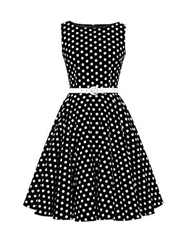 BlackButterfly Audrey' Vintage Polka-Dots Kleid im 50er-Jahre-Stil (Schwarz, EUR 38 - S) (Polka 50er Kleid Jahre Dot)