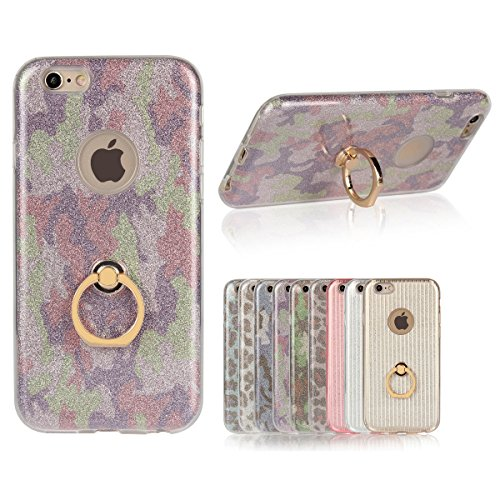 iPhone 6 Plus Etui Coque, SHANGRUN 3 in 1 Scintillement Bling TPU Gel Silicone Etui Coque 360 Degres Rotating Métal Bague Ring Stand Holder Cover Coque avec Béquille Housse Étui pour iPhone 6 / 6S Plu Violet