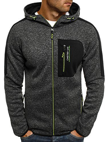 ozonee Felpa uomo felpa con cappuccio sweat maglione sportivi Pullover J. STYLE AK15 NERO_rf-w1228