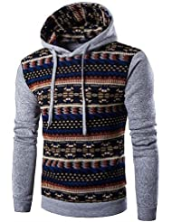 151e17fccba ZhongLiXunYi Sweat-Shirt à Capuche pour Homme Casual Boho Sport pour Sortir  Unicolore Rayures Moyenne