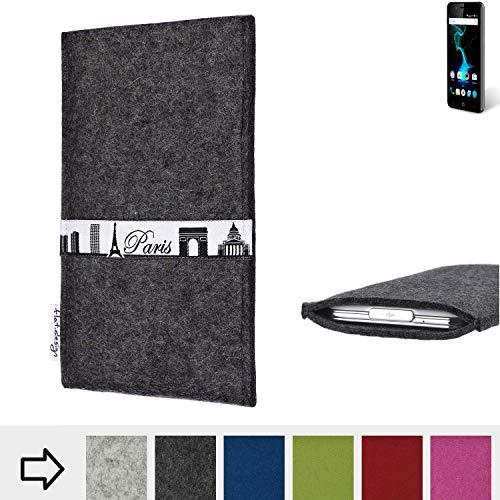 flat.design für Allview P6 Pro Schutzhülle Handy Case Skyline mit Webband Paris - Maßanfertigung der Schutztasche Handy Hülle aus 100% Wollfilz (anthrazit) für Allview P6 Pro