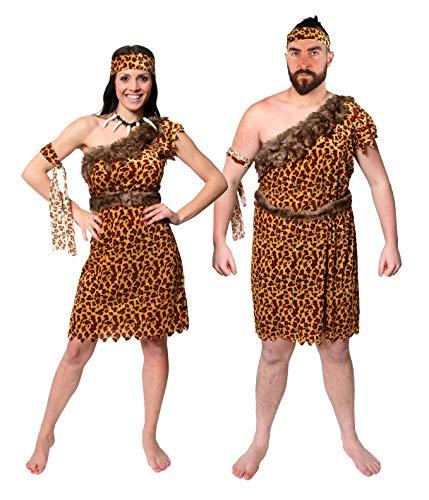 Muster Höhlenmensch Kostüm - ILOVEFANCYDRESS Paar NEANDERTALER HÖHLEN Menschen STEINZEIT KOSTÜME VERKLEIDUNG Unisex FÜR SIE UND IHN=Zeichentrick Karneval Fasching EISZEIT=XXLarge+MEDIUM
