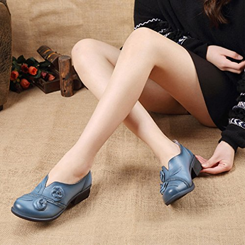 Socofy Damen Pumps, Damen Leder Slipper Mokassins Blume Loafers Metallic Ballerinas Vintage Halbschuhe Slip-On Freizeit Leder Herbstschuhe Blockabsatz Blau 40 - 6
