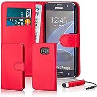 32nd Étui Portefeuille en Cuir PU Flip Coque pour Samsung Galaxy S7 Edge, Housse avec fentes CB et Fermeture Magnétique - Rouge