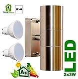 Sun Light Öko UP Down LED Edelstahl Außen Wandleuchte Strahler + 2x 3W GU10 LED