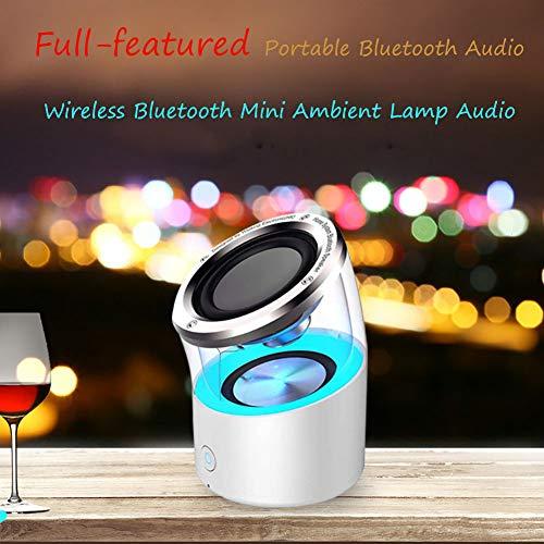 5 - Vinmin Altavoz Bluetooth de luz Nocturna, Altavoz Bluetooth portátil Luz Nocturna, Sensor de Humor táctil con I3 Altavoz con Bluetooth inalámbrico Subwoofer de Tarjeta TWS Lámpara White