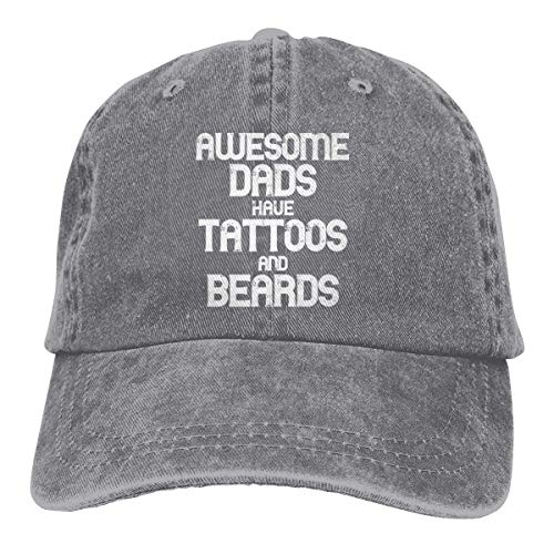 Rundafuwu Gorras de béisbol/Gorra Camionero Awesome Dads Have Tattoos and Beards Washed Denim Hat Unisex Dad Baseball Cap
