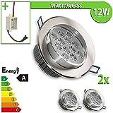 1 x foco LED empotrable 12 W redondo luz blanca cálida lámpara, blanco cálido, 2 unidades