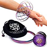 Toroidz ® Flow Rings (RAINBOW) w/ Official Velvet Bag - Amazing Magic Science Toy - 3D ARM SPRING - Interactive Museum, Circus, Anti Stress, Festival - All Ages