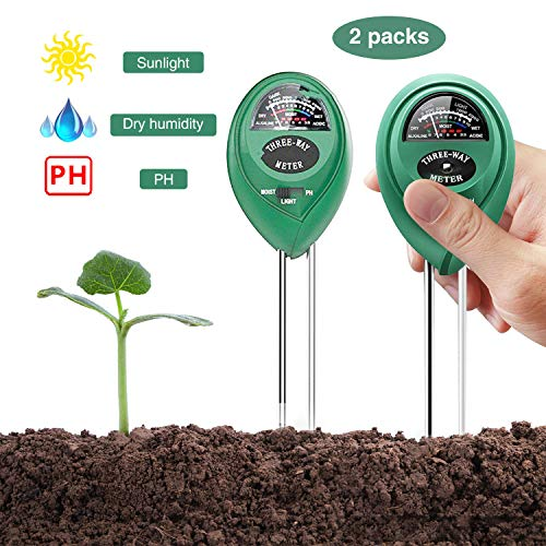 YEESON 3-in-1 Soil Tester Sensor Meter, Test Moisture, PH Value and Environment Sunlight Intensity Meter Promote Plants Healthy Growth for Home, Garden, Lawn, Farm (2 Packs)