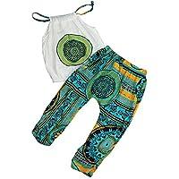 feiXIANG Pack de 2 bebés recién Nacidos para niños Ropa Infantil Niña Bebé  Estampado Sling Camiseta e7c0c6b4d42