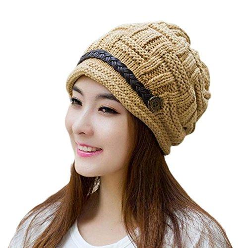 Tonsee® Femmes fleurs Cap Knitting Bonnet Cap hiver chaud Beret Hat Kaki