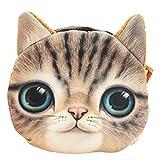 Flauschiger Kindergeldbeutel / Kinderportemonnaie mit süßem Katzenmotiv inkl. Katzenohren (Reissverschluss) (Braun)