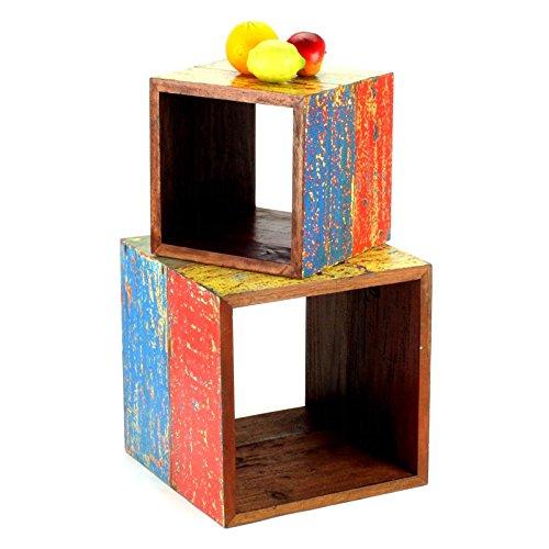 Wuona Objects Paar Holz Würfel - Bali altes Teak Bootsholz massiv - verschiedene Farben - Schemel Hocker Vasenständer Teakholz