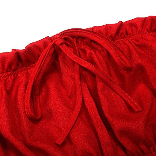 Bekleidung Longra Damen Sommer Bluse Tank-Tops lässig Blusen Crop Tops T-Shirt Kurzarm Schulterfrei Bluse Red
