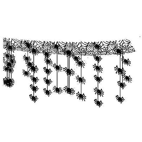 Halloween 3 metros Colgante ARAÑA Decoración - colgante arañas de Techo - arañas Ataque Metalizado techo Decoración Colgante - 3 metros x 30cm