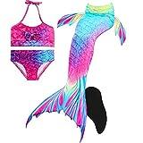 DECOOL Meerjungfrauenschwanz zum Schwimmen mit Meerjungfrau Flosse-Prinzessin Cosplay Bademode für das Schwimmen mit Bikini-Set, 4 Stück