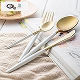 LangToo Gabel und Löffel Steak Messer und Gabel Western Geschirr Weiß Griff Silber Steak Messer und Gabel 304 Edelstahl, Weißer Griff + Gold-Runde Löffel