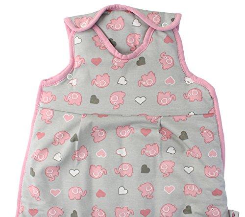 Preisvergleich Produktbild Schlummersack Baby Ganzjahresschlafsack 2.5 Tog 70cm/ 0-6 Monate - Elefanten Pink/Grau