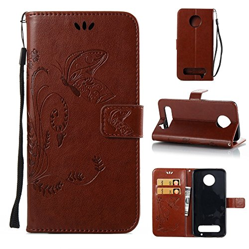 Solid Color Faux Leder Bookstyle Brieftasche Stand Case mit geprägten Blumen & Lanyard & Card Slots für Motorola MOTO Z2 Play ( Color : Darkblue ) Brown