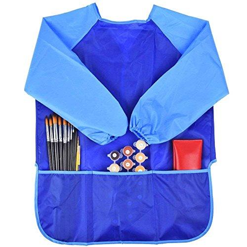 takestop Grembiule A Maniche Lunghe per Pittura Impermeabile con 3 Tasche Porta Oggetti PENNELLI Bambino Bambini Bambina Scuola Anti Macchia Gioco Divertimento creatività (Azzurro)