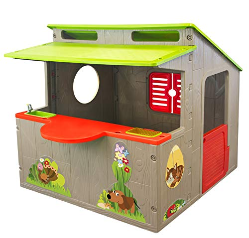 miwido Kinderspielhaus Landschaft Countryside - Waschbecken, Arbeitsplatte - Spielhaus für Kinder im Garten - Outdoor/Indoor - NEUHEIT