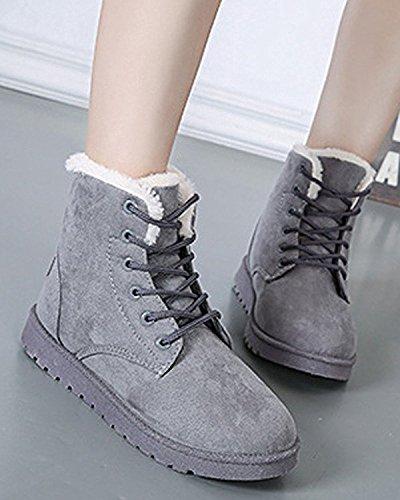 Minetom Donna Autunno Inverno Lace Up Pelliccia Classico Neve Stivali Snow Boots Stivali Cavaliere Scarpe Piatte Grigio