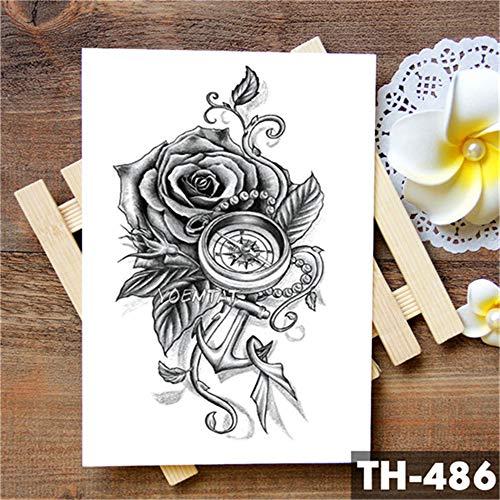 tzxdbh Geometrische Blume Rose Eye Leaves Wasserdicht Temporäre Tätowierung Aufkleber Diamant Pfingstrose Schwarz Tattoos Körperkunst Arm Gefälschte Tätowierung 5Pcs-15 Alte Rose Fine China
