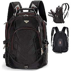 FreeBiz 17,3 Zoll Notebooktasche Laptop-Tasche Rücksack Passend für bis zu 17-Zoll-Gaming Laptops für Dell, Asus, MSI (17,3 Zoll, Schwarz)
