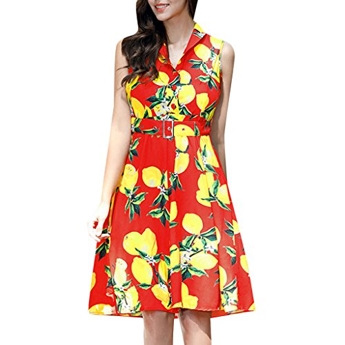 MNBS Femme Robes Vintage Classique 1950S Style Ourlet Impression Citron Revers Rouge