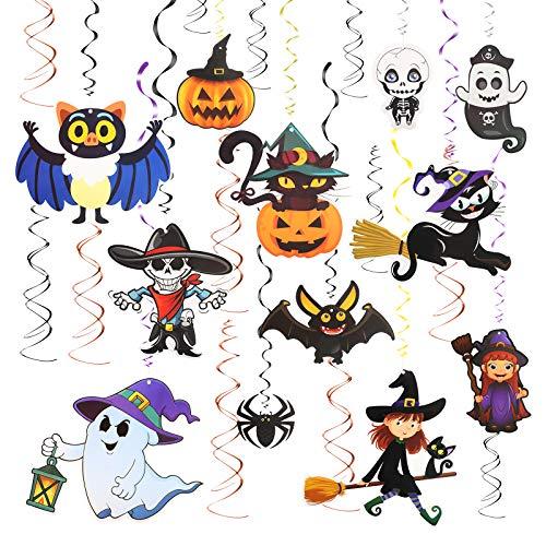 TAZEMAT 24 Set Hängende Wirbel Dekoration Spiral Girlanden Halloween dekorative Karikatur Wirbel Deko Party Verzierung Spinne Kürbis für Hallowen Geburtstagskarneval Klassenzimmer