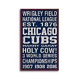 Enid18Bru Chicago Cub Schild, handgefertigt, Baseball-Druck auf Holzdekor, handgefertigt, Heimdekoration, Wandschild