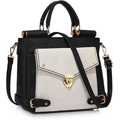 LeahWard® Große Größe oben Griff Kunstleder nett Groß Handtaschen Satchels Taschen 237 A-Schwarz/Weiß