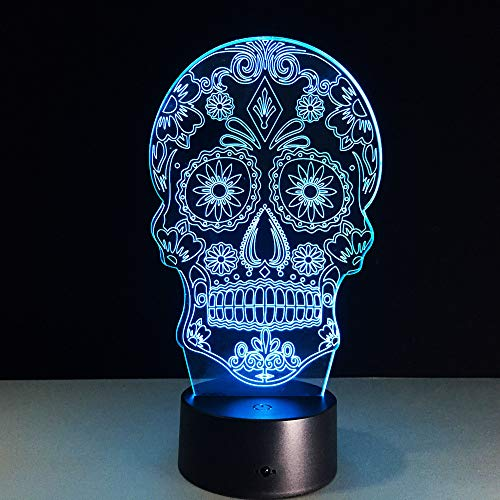 Halloween Skull Light Battery 7 Color Change 3D Led Desk Lamp Table Light With Touch Button Home Decor Besides Lamp Video Show