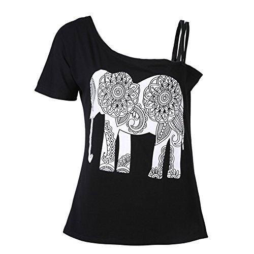 Damen T-Shirt Mandala Elefant Tunika Off-Shoulder Schulterfrei Oberteil Schwarz Weiß sexy - Très Chic Mailanda (M, Schwarz)