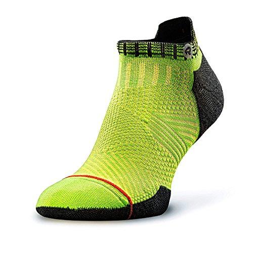 ROCKAY Accelerate - Calcetines Deportivos con Talón de Compresión para Hombres y Mujeres en Lana Merino orgánica, Running, Anti-ampollas y con Soporte de Arco (1 par)