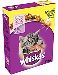 Whiskas 2-12 Months Kitten Dry Food with Chicken, 825 g