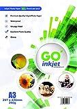 GO Inkjet - 100 Feuilles de papier photo 260gm format A3 42x29.7cm - Papier blanc extra brillant et waterproof, compatible imprimantes photos et jet d'encre