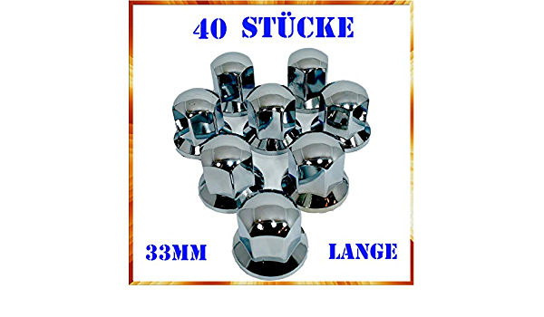 Easy Link 40 X Lange 33 Mm Radkappen Chrom Radmutterkappen Radmutterschutz Kunststoff Sw Lkw Anhänger Auto
