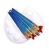 Acryl Pinsel Set für Malen, 12 Stück Künstler Pinsel Aquarell pinsel Ölgemälde Pinsel mit Nylon Haar, Pinselset für Ölfarben Ölmalerei Acryl Blau(2 Paletten enthalten)
