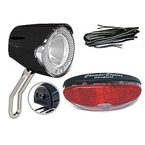 BDCP Fahrrad Nabendynamo Žibintaisset 5,UN-4255 LED-Scheinwerfer 20 Lux, Rücklicht und Kabel