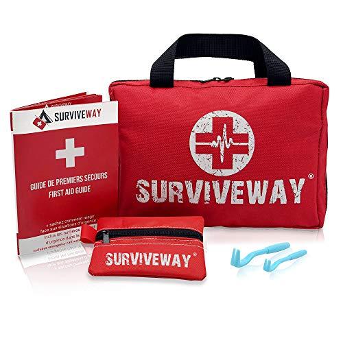 Surviveway Trousse de Premiers Secours - 4en1 - Complète pour la Voiture, Voyage, Bureau, Randonnée, Sport, Maison, Entreprise -...