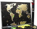 Mappa del Mondo da Grattare - Qualità Premium Deluxe Edition - Personalizzato Travel Tracker poster - Share e Ricorda il Tuo Viaggio Adventures - Scratchable Mappa del Mondo (Black)
