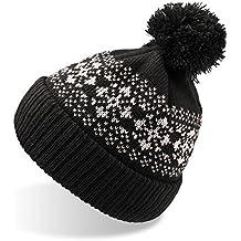 Flake - Gorro largo con pompón, color negro