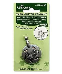 Clover Yarn Cutter Pendant Antique, Silver