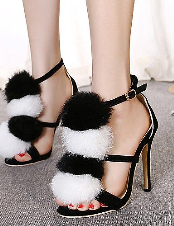 ef1a09a86492 ShangYi Women s Shoes Fleece Fleece Fleece Stiletto Heel Open Toe Sandals  Party   Evening Dress Black B01FZJKOU6 Parent 8970c8